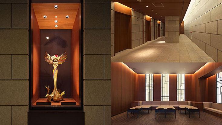 左:エントランス前オブジェ(2012年9月撮影)、右上:エレベーターホール(2012年9月撮影)、右下:エントランスホールラウンジ(2012年9月撮影)