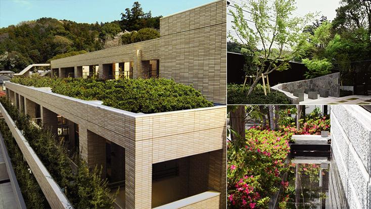 左:外観写真、右上:紅葉の園、右下:湧き水を利用した疎水