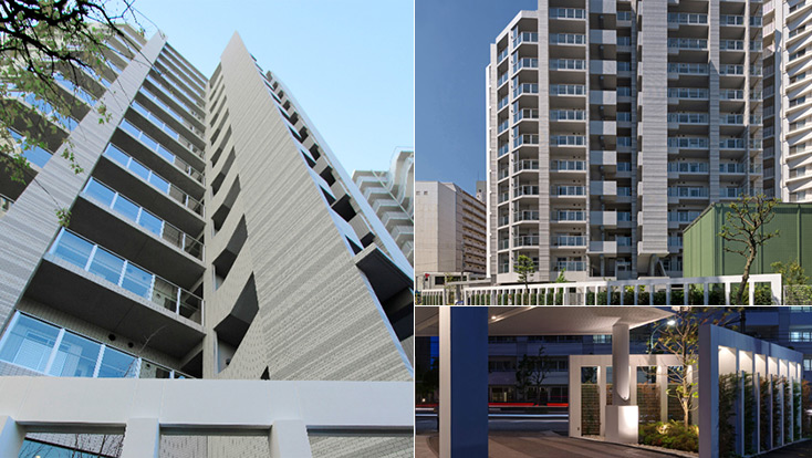 左:外観見上げ(2012年5月撮影)、右上:東側外観(2012年5月撮影)、右下:エントランスアプローチ(2012年5月撮影)