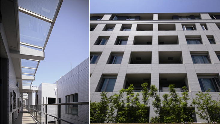 左:光溢れる吹き抜け(2010年5月撮影)、右:西側外観(2010年5月撮影)