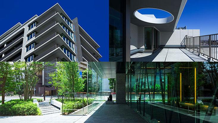 左上:外観写真(2014年3月撮影)、右上:ルーフバルコニー(2014年3月撮影)、下:エントランスホール外観写真(2014年5月撮影)