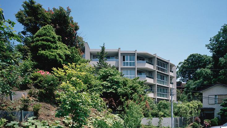 在来種中心の緑化による街と緑に溶け込む西側外観(2010年6月撮影)