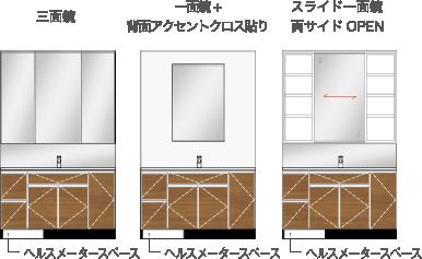三面鏡 一面鏡+背面アクセントクロス貼り スライド一面鏡、両サイドオープン