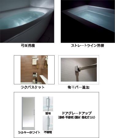 弓型浴槽 ストレートライン浴槽 ラクバスケット 物干しバー追加 ドアグレードアップ